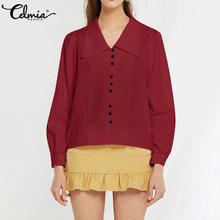 S-5XL Celmia 2020 Vintage Long Sleeve Buttons Pleated Shirt Women Casual Sexy V-Neck Loose Blouses and Tops Ladies Elegant Blusa(China)