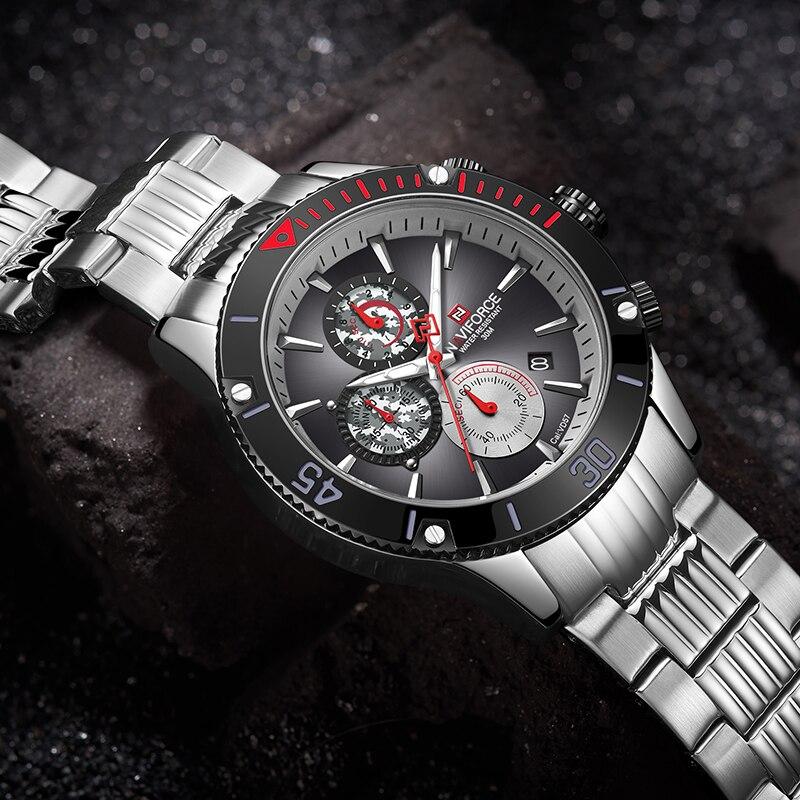 NAVIFORCE marque hommes montres plein acier Quartz montre hommes militaire chronographe montre-bracelet sport analogique horloge Relogio Masculino