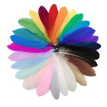 20Pcs Colorful Hard Stick Goose Feather 6-8inch/15-20cm Natural Swan Crafts Plumes Table Centerpieces Feathers for Decoration