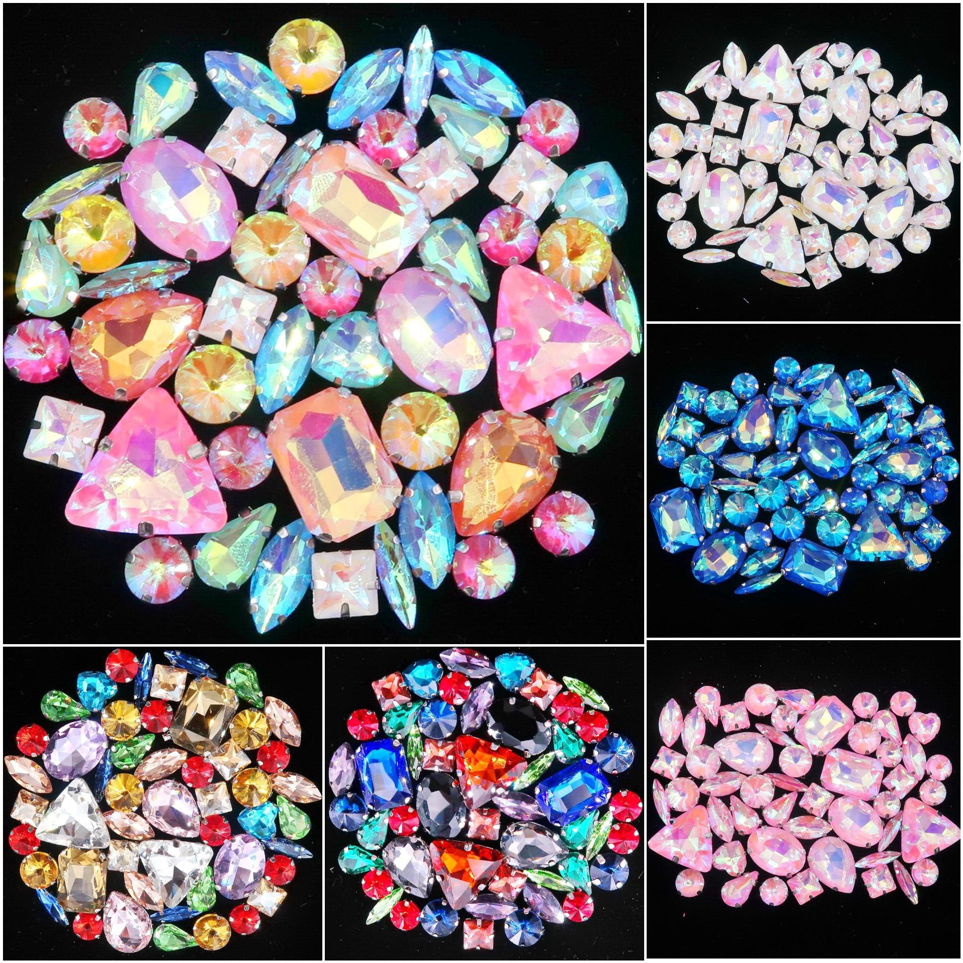 50 pçs/saco formas mix garra de prata definir clear & geléia doces ab cristal de vidro costurar em strass vestido de casamento sapatos saco diy guarnição