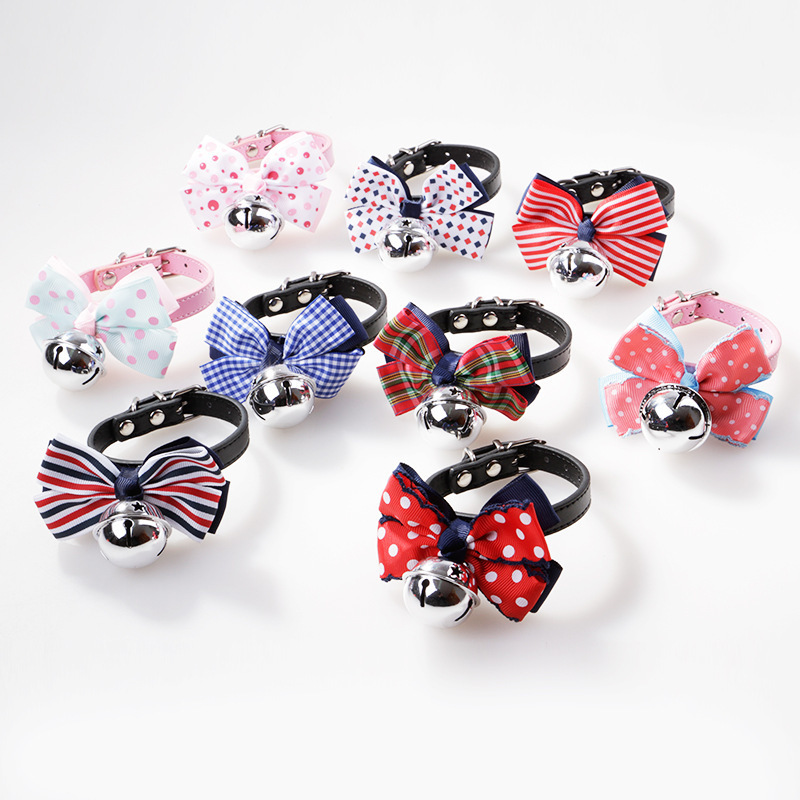 Pet Fashion Dog Tie Bowtie Bell Large Bow Star Bell Neck Ring
