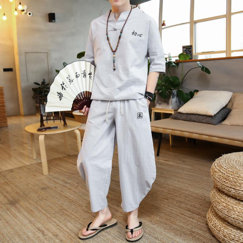 M-5XL Men's Set Casual Suit Cotton Linen T Shirt Man Shorts Oversize Men T-shirt Male 2020 Summer Embroidery Tracksuit XXXXXL