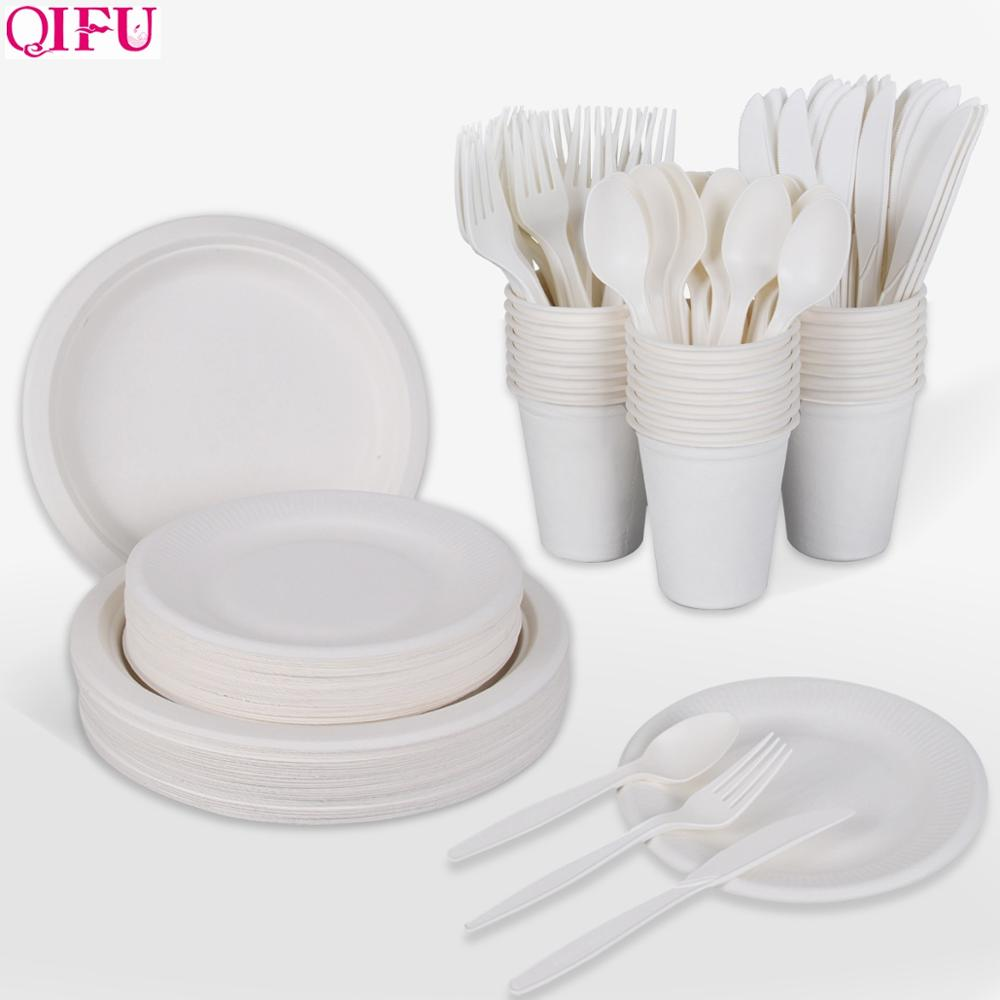 QIFU 300pcs White Degradable Disposable Tableware Set Disposable Plate Cup Knife Fork Birthday Party Decor Kids Party Supplies