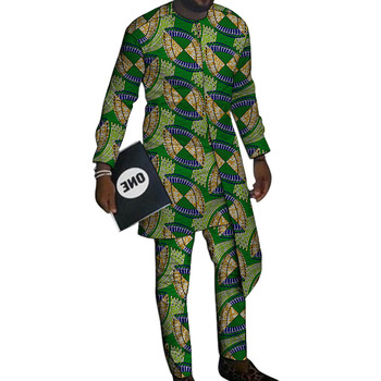 Layering design shirts with trousers custom made pant sets Fashion men groom suits Dashiki print outfits African party clothes 2020 african dashiki design clothes for lady print appliques with two pockets spring