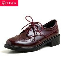 QUTAA/ повседневные женские туфли-лодочки на квадратном каблуке; сезон весна-осень женские тонкие туфли из лакированной кожи на шнуровке с круглым носком Большие размеры 34-43