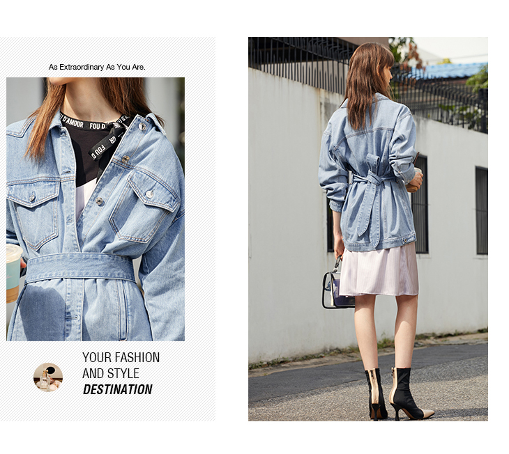 ONLY 19 Women's Loose Fit tie-up Casual Denim Jacket |119154529 12