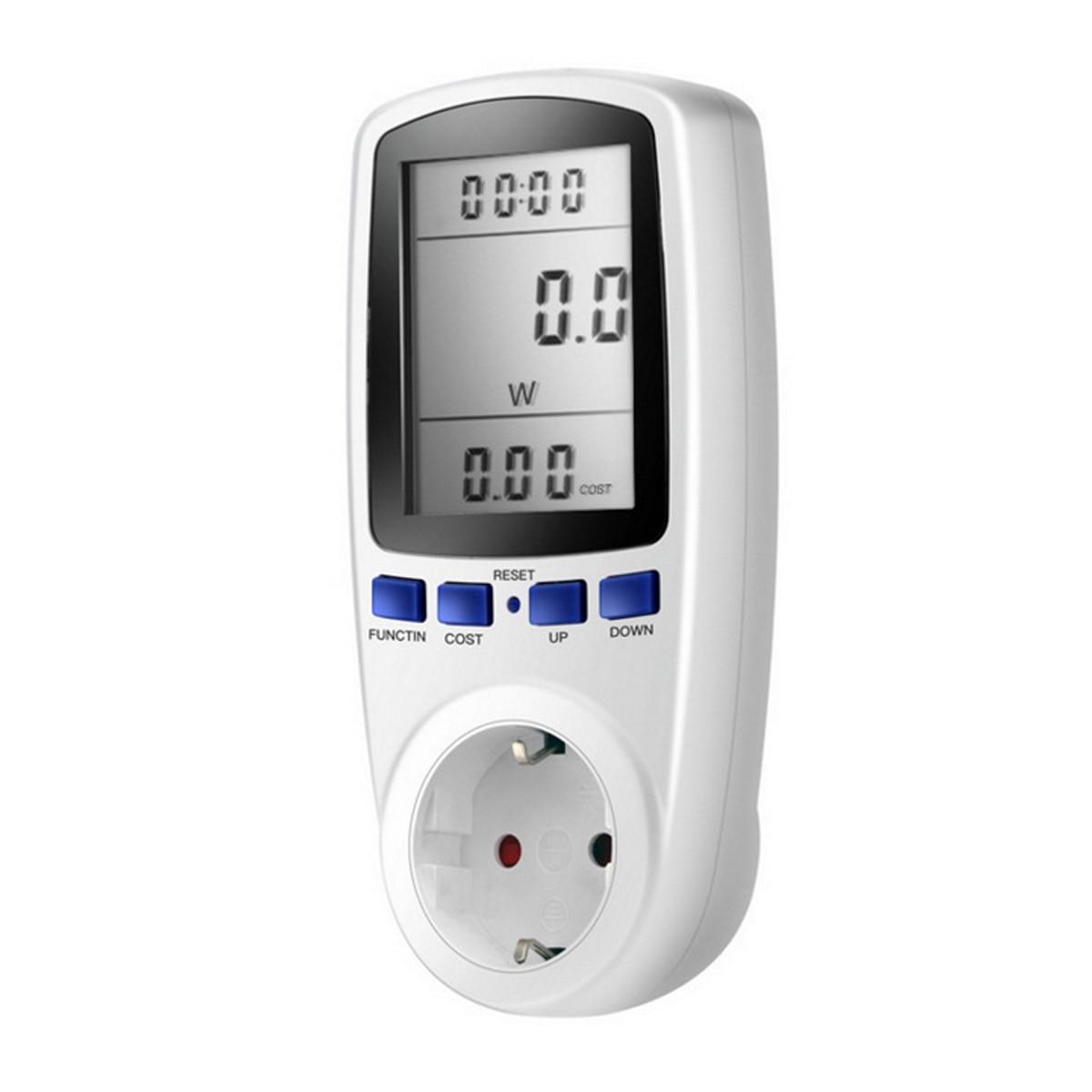 Prise en courant EU UK, prise en courant numérique wattmètre à tension numérique consommation électrique, moniteur d'énergie à Watt KWh, AC 230V 120V