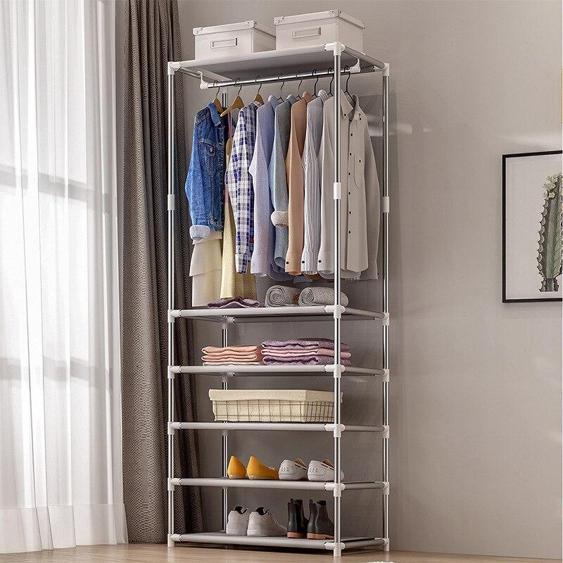 Coat Rack Floor Stand Bedroom Home Clothing Storage Rack Assembled Minimalist Modern Clothes Hanger Antirust Dustproof Furniture