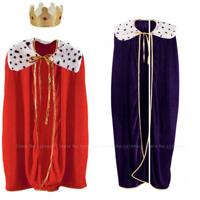 Halloween Carnival Court King Robe Anime Cosplay Costume Medieval Adult Prince Cloak Cape Party Performance Stage Festive Outfit