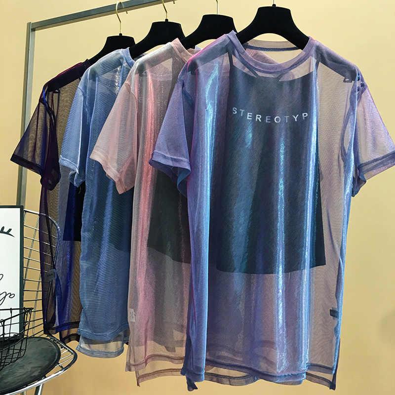 네트워크 레드 퍼플 메쉬 짧은 소매 티셔츠 여성 여름 2019 새로운 이상한 맛 소녀 힙합 의류 MA5