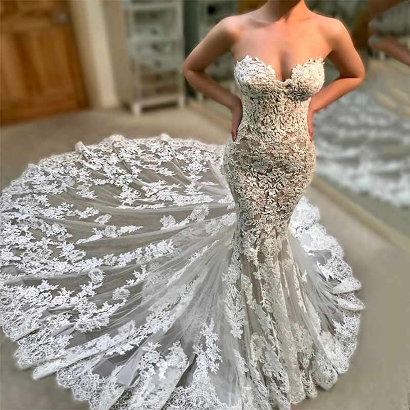 New Arrival Strapless Floral Lace Backless Tiered Chapel Train Mermaid Crepe kleid Bridal Dress 2020