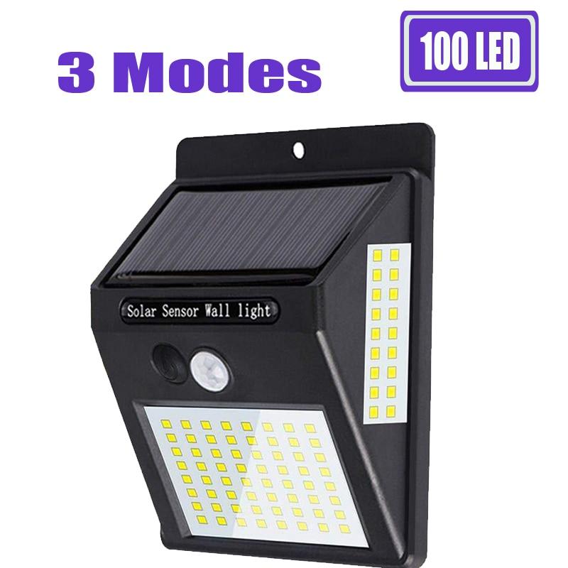 100 Led Solar Light Outdoor Solar Lamp 3 Mode Powered Sunlight Waterproof  PIR Motion Sensor Street Light For Garden Decoration