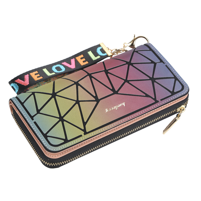 Cardholder Wallet Vinyl Rainbow Diagonal Striped Zippered PouchCell Phone Case