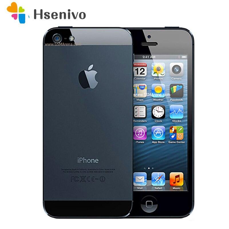 Apple-teléfono inteligente Iphone 5 desbloqueado, Iphone Original usado 100%, 16GB 32GB ROM, 16GB 32GB 64GB IOS, pantalla de 4,0 pulgadas, cámara de 8,0mp, soporta WIFI y GPS
