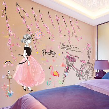 [SHIJUEHEZI] Cartoon Girl Wall Stickers DIY Pink Flowers Bicycle Mural Sticker for Kids Rooms Baby Room Dorm Decoration 1