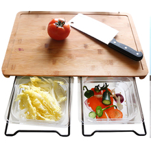 Multifunctional Bamboo Chopping Board Creative 2 in 1 Cutting Board with 5 Food Storage Box Basket for Receiving Vegetables