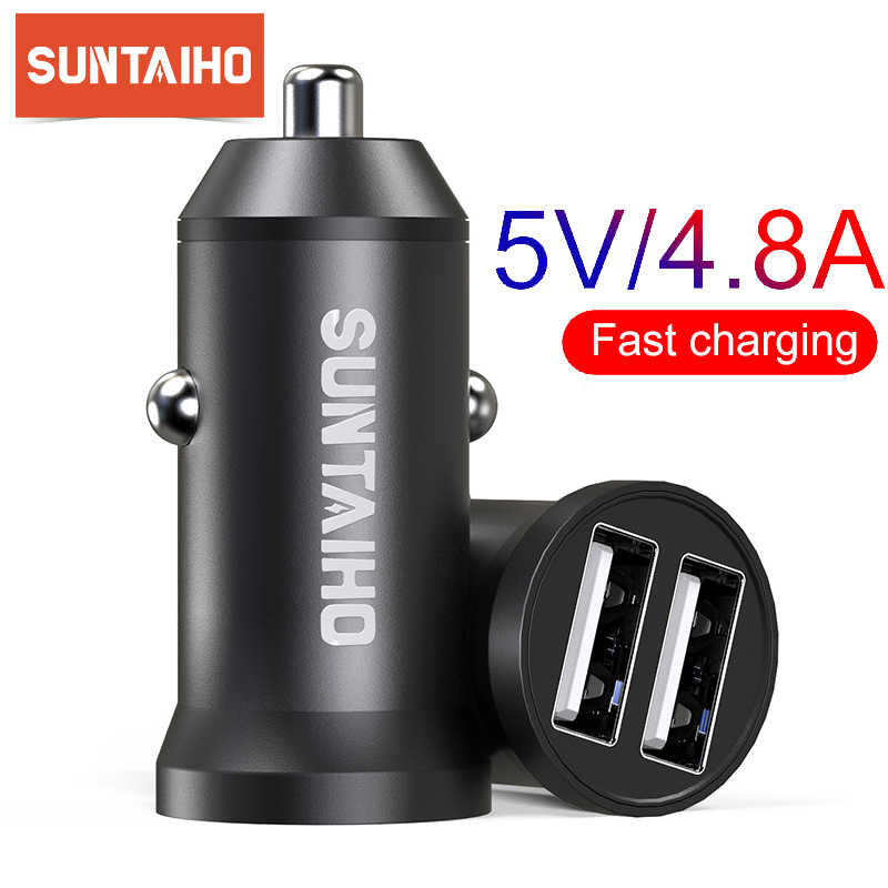 Suntaiho 5V 4.8A Mini USB Charger Mobil untuk Iphone Ipad Samsung Ponsel GPS Cepat Charger Mobil USB Charger adaptor Charger Mobil