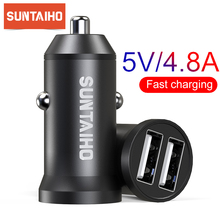 Suntaiho 5V 4.8A Mini USB Car Charger For iPhone iPad Samsun