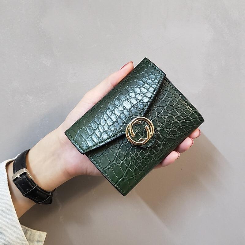 Crocodile Wallet Women Short Leather Card Holder Clutch Wallets Purse Coin Pocket Ladies Luxury Design Female 2020 New Fashion