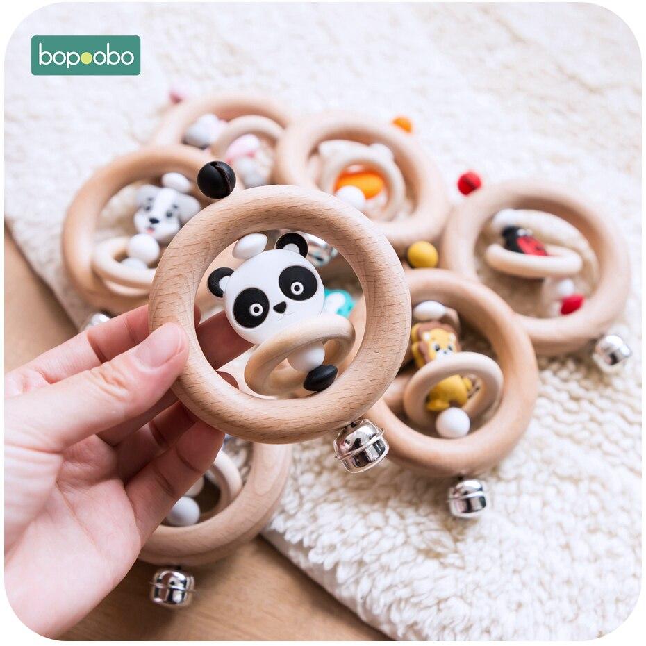 Bopoobo Baby Rattle Beech Wood Teething Rings Food Grade Teether Wooden Mini Animal Cotton Baby Bib Drool Nursing Set Baby Goods