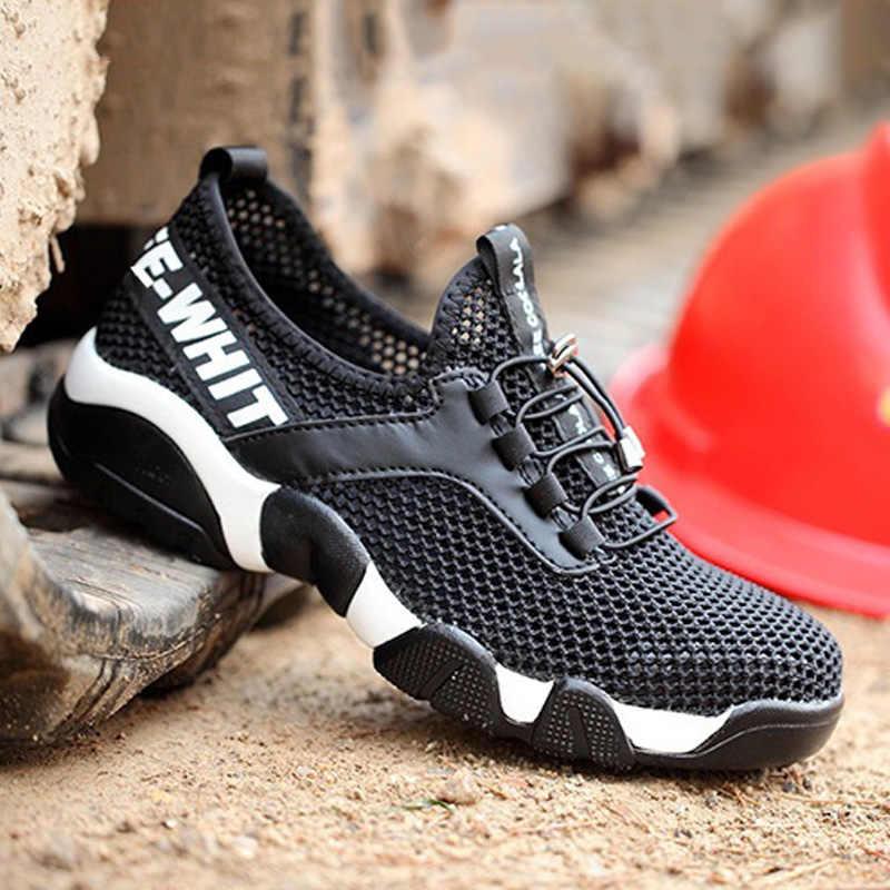 Manlegu Mannen Stalen Neus Veiligheid Werkschoenen Mannen Winter Casual Ademend Werk Schoenen Outdoor Sneakers Punctie Proof Laarzen