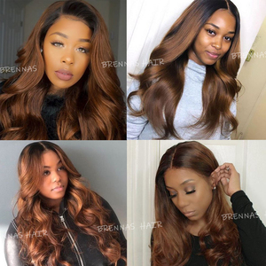Image 5 - Brennas Body Wave Human Hair Bundles With Closure Ombre 1b30 hair weave with 4*4 lace closure Brazilian Remy Hair for women