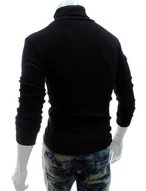 Jesienno-zimowa nowi mężczyzna szczupły ciepły bawełniany sweter na szyję sweter Jumper Top swetry z golfem