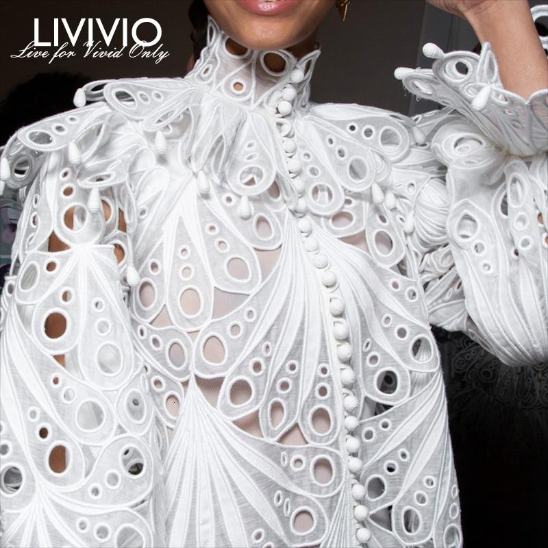 [LIVIVIO] Vintage Hollow Out Lace Ruffled Shirts Female Stand Neck Flare Long Sleeve Irregular Blouse Women Fashion Clothing New