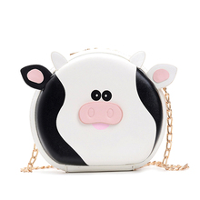 Cute Cow Design Chain Crossbody Faux Leather Fashion Young Girl Shoulder Bag Handbag Mini PU Bag Flap Totes Lady Bag cute embroidered applique fashion striped ice cream design ladies shoulder bag handbag crossbody mini messenger bag pouch flap