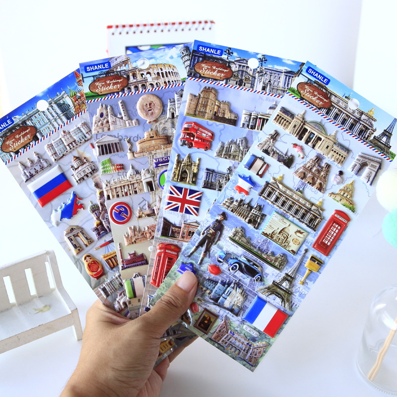 Western Retro Architecture Travel Scenery 3D Decorative Journal Sticker Scrapbooking Stick Label Diary Stationery Album Stickers