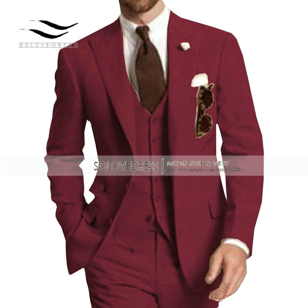 Men's Suit Formal Business Suits 3 Pieces Notch Lapel Solid Tuxedos Best Man For Wedding Groomsmen (Blazer+vest+Pants) Beige New - 5