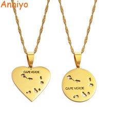 Anniyo redondo & coração cabo verde/cabo verde mapa pingente colares para meninas cor do ouro jóias africano #172821