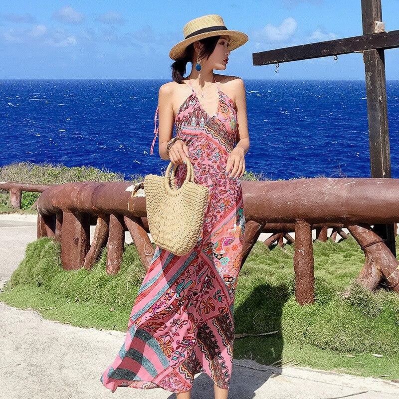 Photo Shoot Chiffon Printed Holiday Skirt Seaside Backless Halter Bohemian Long Skirts Beach Skirt Thailand