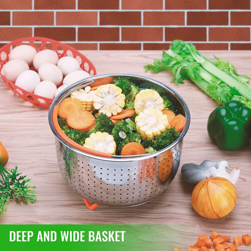 Household Steam Basket Stainless Steel Steam Pot Rice Cooker Silicone Handle Multifunctional Steams Basket Cookware