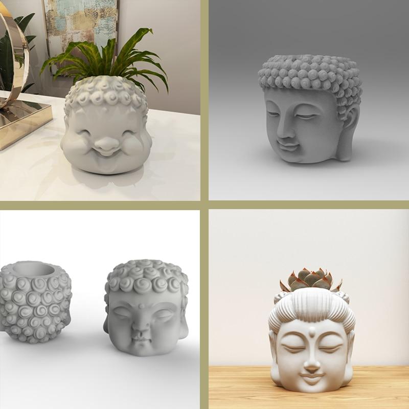 Concrete flowerpot silicone mold Buddha design creative  head layout flowerpot mold home decoration flowerpot silicone molds