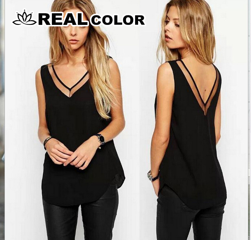 XL XXL XXXL Women Chiffon   Shirt   2019 Summer Sexy V Neck Top Girl Casual Mesh Patchwork   Blouse   Tops Plus Size 6 SIZE New SA-85