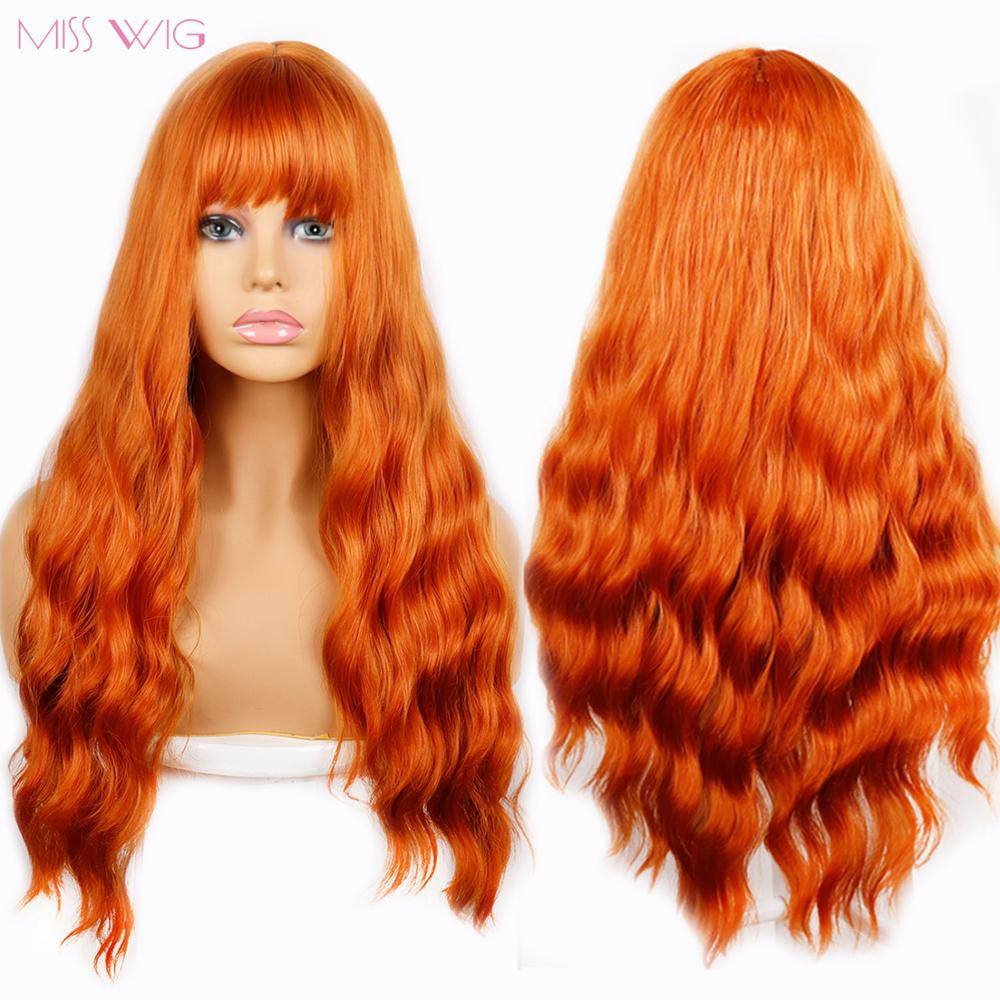 Ombre Wavy Wigs Black Brown Blonde Orange Middle Part Cosplay Synthetic Wigs With Bangs For Women Long Hair Wigs Fake Hair