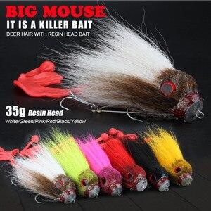 Image 2 - Novo pique pesca com mosca 35g/17cm material do cabelo dos cervos grande mouse seco mosca ganchos com resina isca truta mosca pesca moscas 6 cores