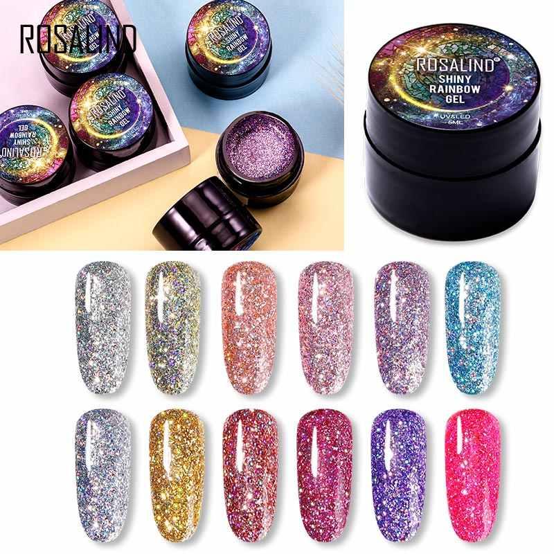 ROSALIND 5 ml brillante esmalte de uñas de Gel de arcoíris brillante para pintura de brillo Diseño de Arte de uñas Poly UV Base superior para manicura