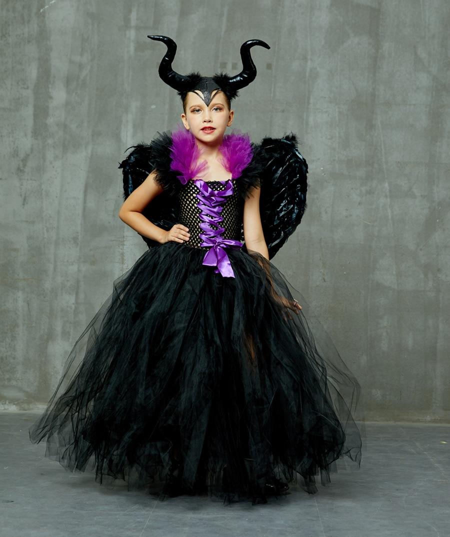 Hf4fd07fdcc9e4ddb8cd0a8a89b1b36fdt Kids Maleficent Evil Queen Girls Halloween Fancy Tutu Dress Costume Children Christening Dress Up Black Gown Villain Clothes