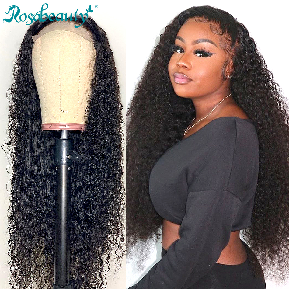 Rosabeauty Deep Wave Lace Front Human Hair Wigs Brazilian Water Curly Remy Hair Wigs For Black Women Long Lace Frontal Wig