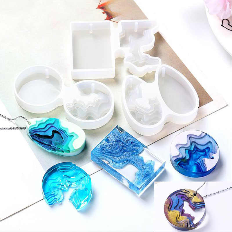 Transparent Silicone Mould Dried Flower Resin Decorative Craft DIY splice Island mountain Mold epoxy resin molds for jewelry