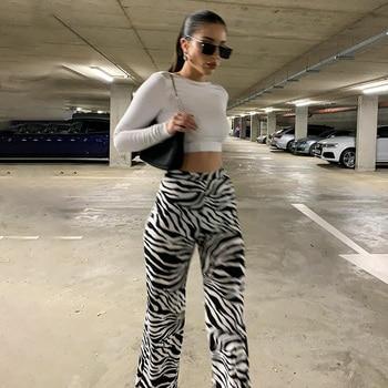 Zebra Print Wide Leg Pants Trousers Sexy High Waist Autumn Women New 2020 Fashion Casual Female Trousers Streetwear high waist leopard print flare leggings serpentine print women fashion sexy bodycon trousers club pants thin wide leg pants
