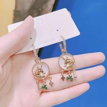 baroque new fashion  unicorn  ring  indian jewelry  drop earrings  women  rhinestone boho  bohemian earrings