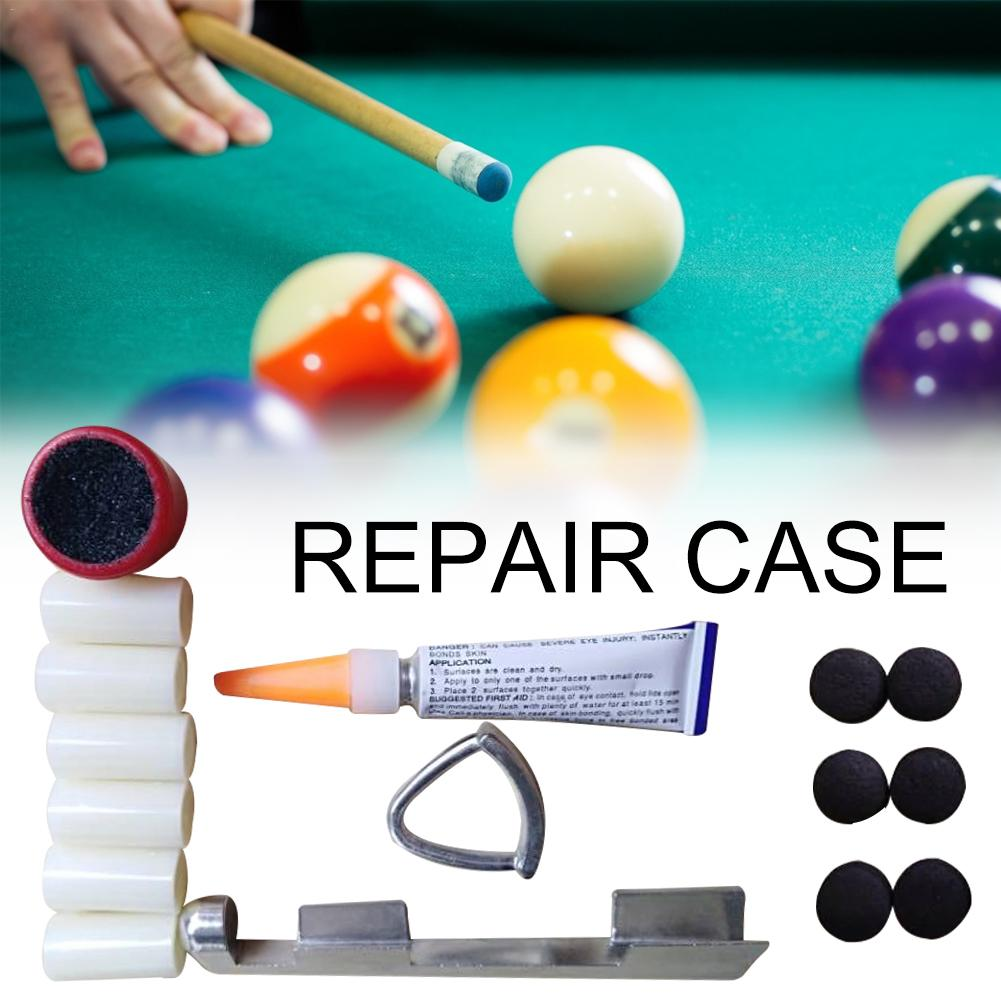 Pool Cue Tip Repair Tool Kit For Billiards Tip Sander Glue File Cue Tips Splint Set Sports Club Accessories Billiards Supplies