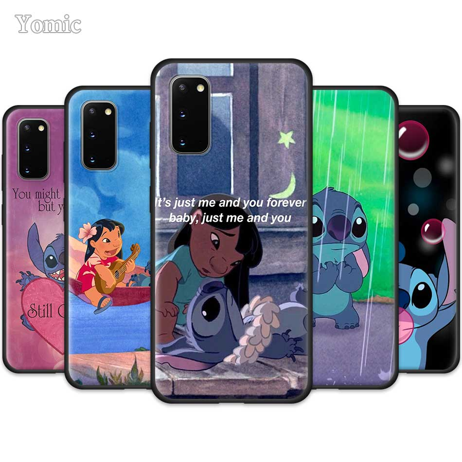 <font><b>Cute</b></font> Cartoon Lilo Stitch <font><b>Case</b></font> for <font><b>Samsung</b></font> Galaxy S20 Ultra 5G S10 Lite S10e <font><b>S9</b></font> S8 Note 8 9 10 Plus Black Soft <font><b>Phone</b></font> Cover Sac image