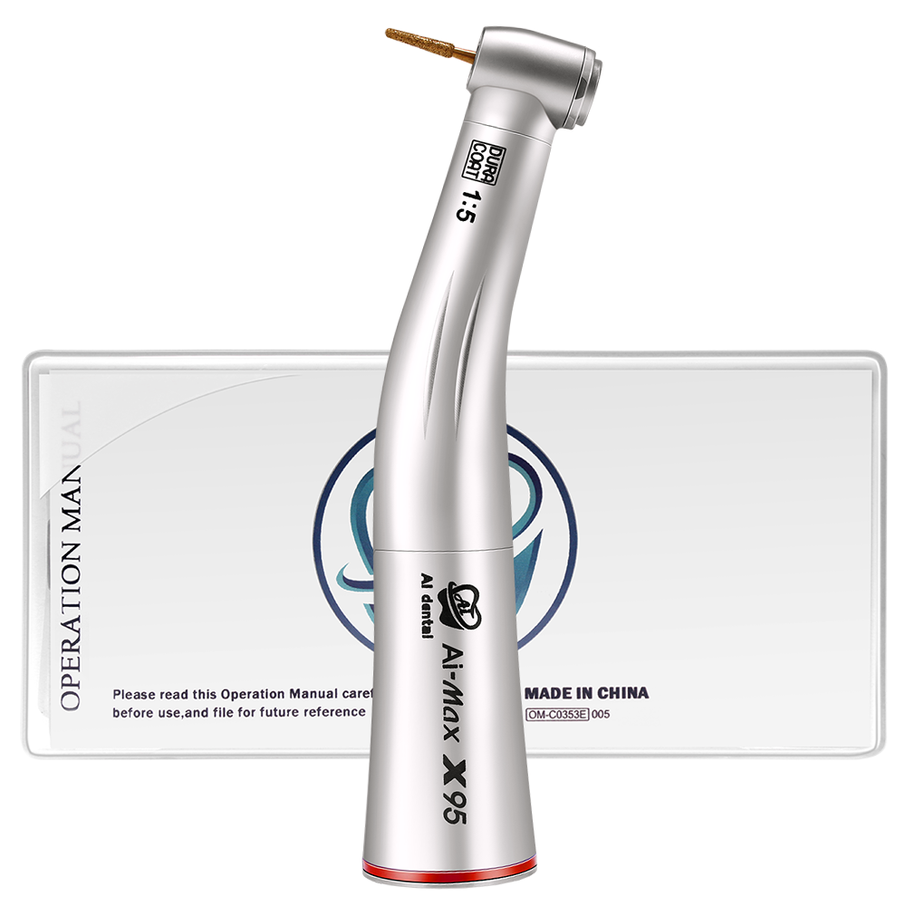 Ti-Max X95 Dental 1:5 Speed Increasing Red Ring Contra Angle Handpiece  And Stainless Titanium Body No Light