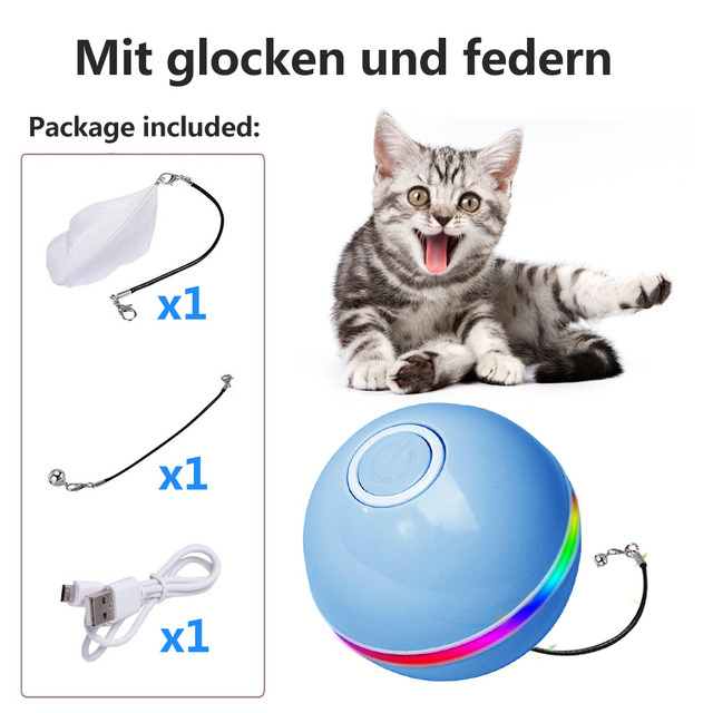 Smart Interactive Cat Toy - Colorful LED Self Rotating Ball With Catnip 2
