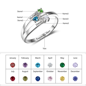 Image 2 - 925 Sterling Silver spersonalizowane nazwa rodziny grawerowane pierścienie dla kobiet klienta 3 Birthstones matki pierścień Fine Jewelry (RI102505)