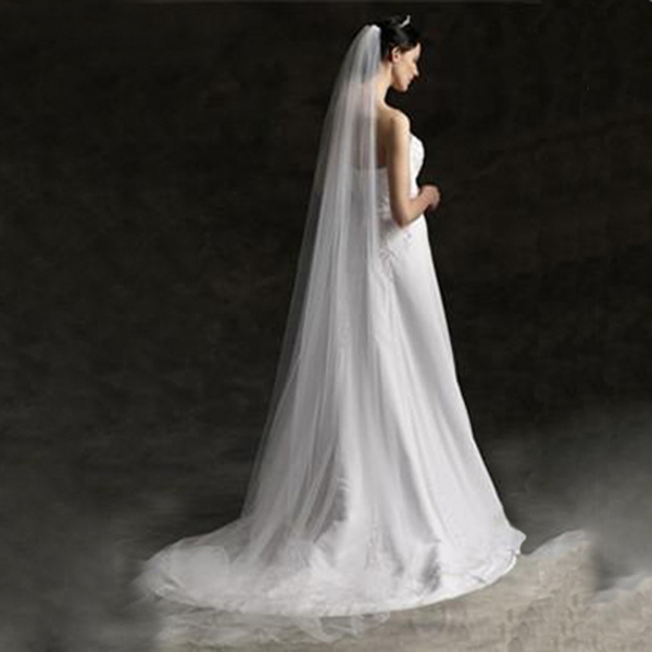 White Cathedral Bridal Wedding Tulle Veil With Hair Comb Bride Headpiece